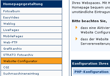 Strato Kundenservice PHP Version einstellen